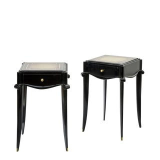 Jean Pascaud Black Lacquered and Gold Sabot Bedside or Side Table For Sale