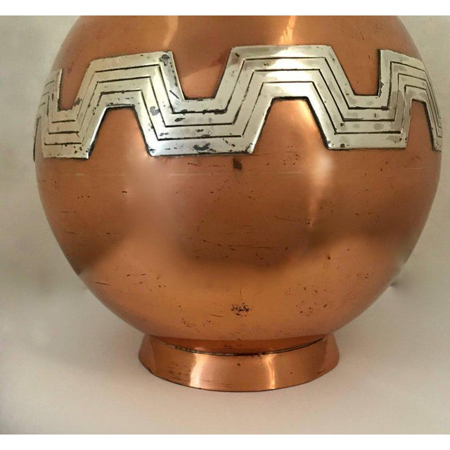 Copper 1960s Mexican Modernist Taxco Victoria Copper and Sterling Water Pitcher For Sale - Image 7 of 9