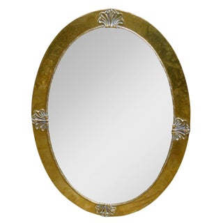 Liberty & Co. Attr. Brass Oval Mirror For Sale