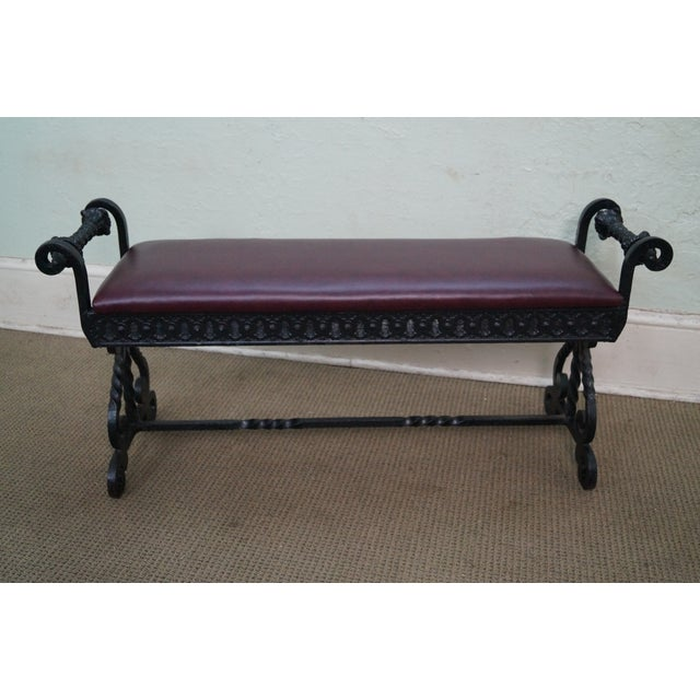 An antique, 19th Century, heavy iron Renaissance bench. Store Item #: 10969 AGE/COUNTRY OF ORIGIN: Approx 130 years,...