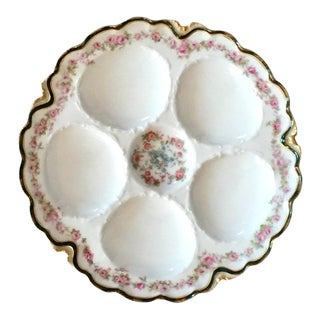 1890's Haviland French Ink Blue and White Porcelain Oyster Plate For Sale