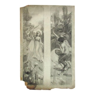 Early 20th Century Antique Agnes Millen Richmond Graphite Drawing For Sale