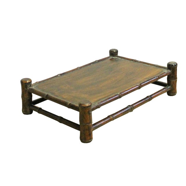 Asian Chinese Brown Wood Carved Rectangular Table Top Stand Display Easel For Sale - Image 3 of 8