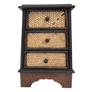 """Wooden Box Drawers Treasure Chest Case Indonesia Jewelry Trinket 13.25"""" H For Sale"""