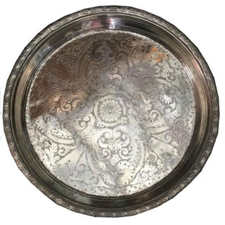Zac Vintage Moroccan Silver Tray For Sale