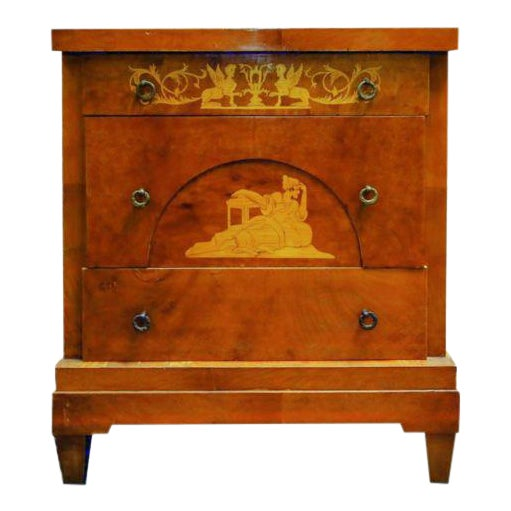 19th Century Biedermeier Walnut Inlaid Two-Drawer Commode For Sale
