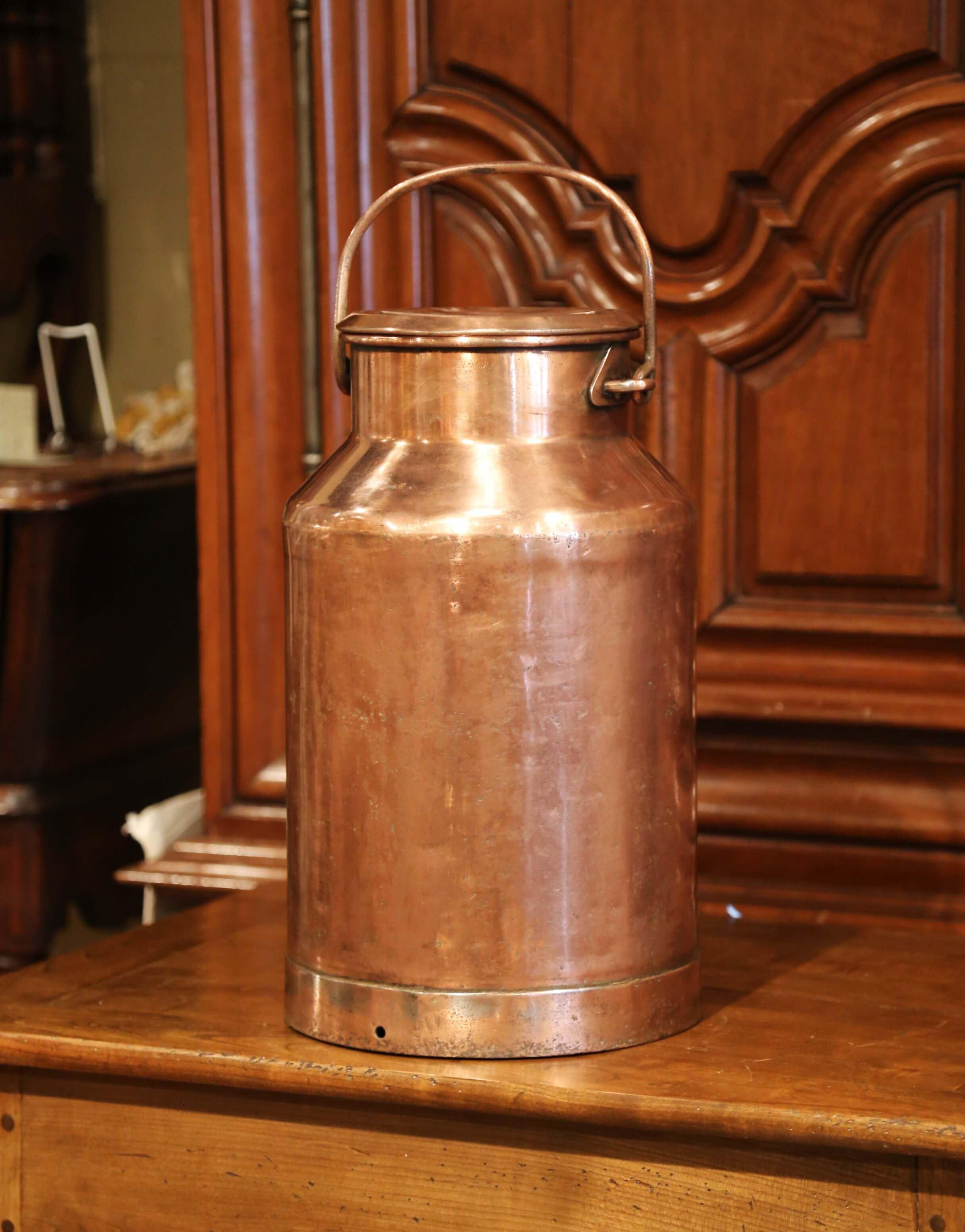 19th Century French Patinated Copper Plated Milk Container Or