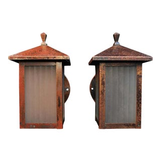 1910s Arts & Crafts Copper Outdoor Sconces - a Pair For Sale