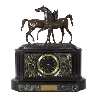 Antique Black Slate & Marble Mantel Clock With Equestrian Sculpture Group For Sale