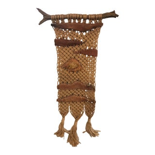 Vintage Macramé and Leather Wall Hanging For Sale