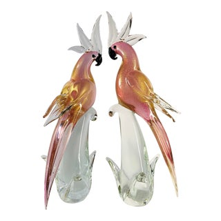 Vintage Hollywood Regency Murano Glass Pink and Gold Fleck Cockatoo Parrot Sculptures by Seguso - a Pair For Sale