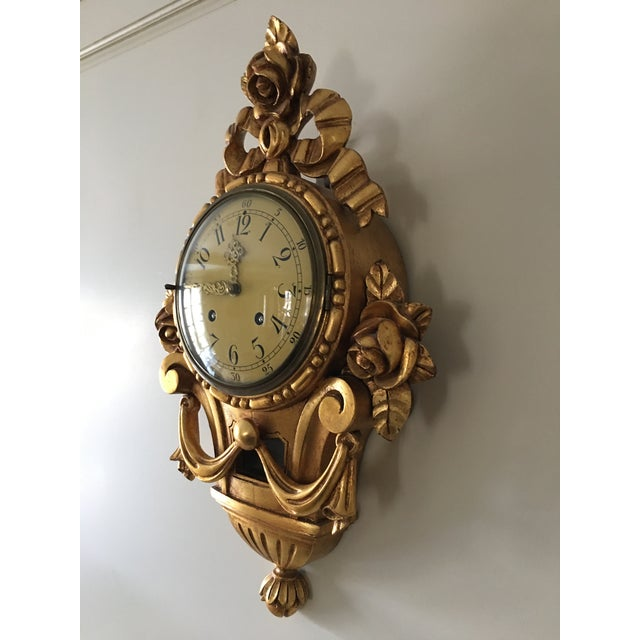 19th Century Craved Gold Leaf Wall Clock For Sale In Chicago - Image 6 of 7