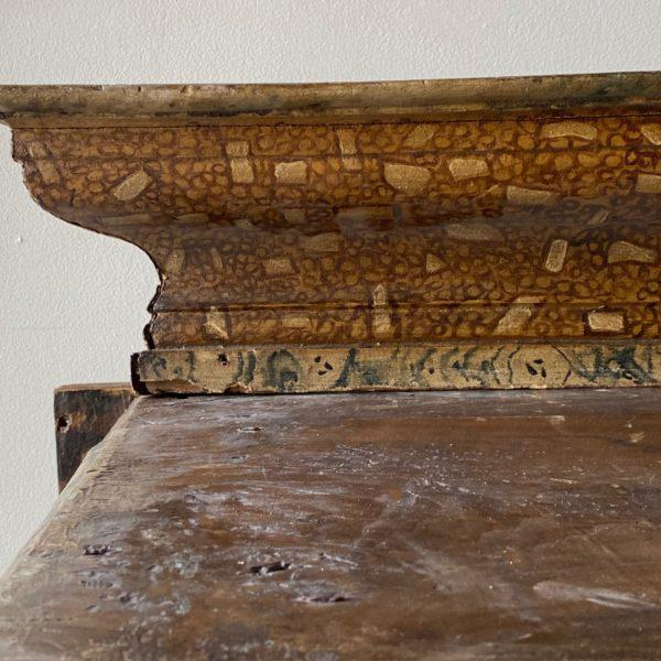 Antique Italian wooden altar with painted faux-marble detail. Height: 40.75″ Width: 65.5″ Depth: 23″