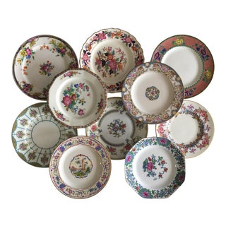 Mixed Pink & Blue Salad Luncheon Plates Set of 10 For Sale