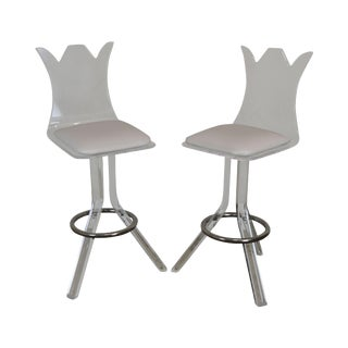Lucite Mid Century Modern Pair Bar Stools For Sale