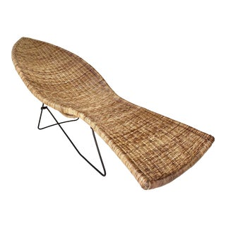 Mid Century Wicker Fish Chaise on Metal Base For Sale