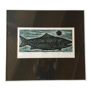 1960s Vintage Etching Woodblock Pisces Print by Chin Sung For Sale