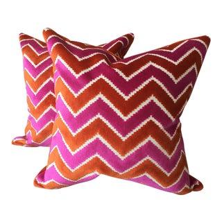 Brunschwig & Fils Pink Orange Velvet Silk Pillows - A Pair For Sale