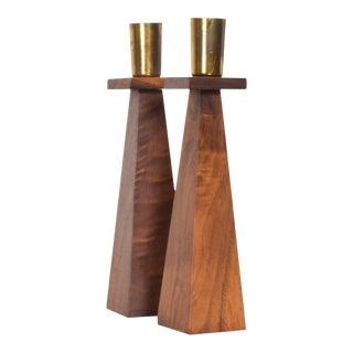 Kustom Kraft Sculptural Candlestick Candle Holders Set in Walnut and Brass - a Pair For Sale