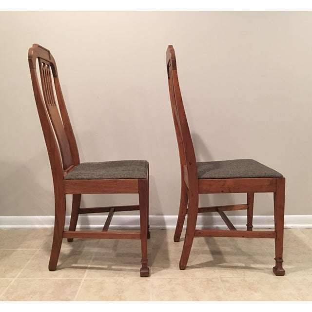 Mission Arts & Crafts Craftsman Wood Chairs With Canvas Seats - Set of 2 For Sale - Image 4 of 11