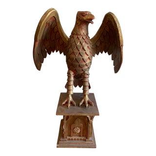 Vintage Eagle Standing on Gothic Pedestal For Sale