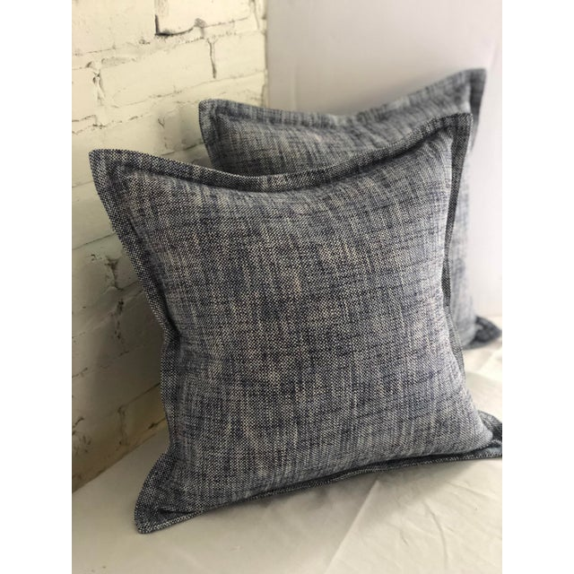 """20"""" Cotton Tweed Pillows in Indigo Blue by Jim Thompson - a Pair For Sale - Image 4 of 10"""