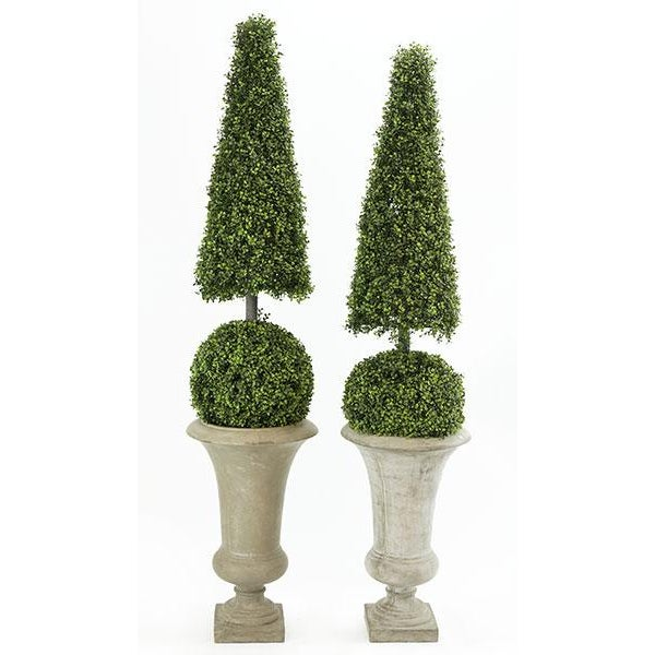 1970s 1970's Vintage Faux Topiary in Stone Composite Urns For Sale - Image 5 of 5