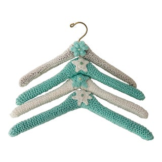 Handmade Knitted Clothes Hangers S/4 For Sale