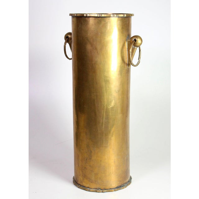 Vintage Solid Brass English Faux Bamboo Umbrella Cane Stand For Sale In Los Angeles - Image 6 of 6