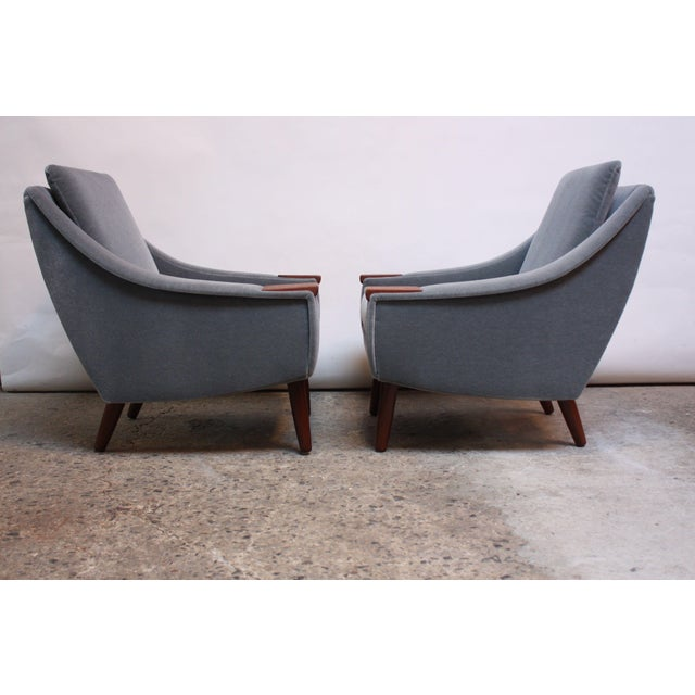 Pair of Danish Modern Teak and Mohair Lounge Chairs For Sale - Image 4 of 11