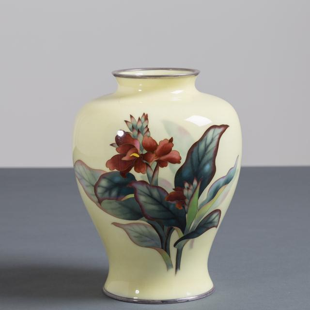 Asian A Japanese Cloisonné Yellow Enamel Vase by Ando Circa 1950 For Sale - Image 3 of 3
