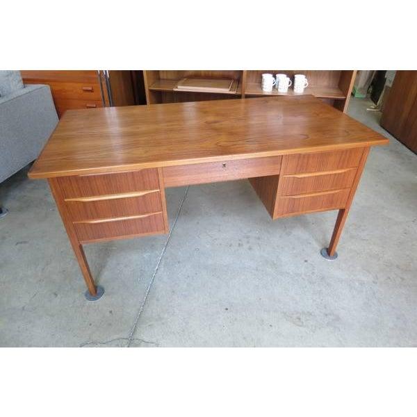 1960s Danish Modern Teak Desk With Bookshelf Back For Sale In Seattle - Image 6 of 6