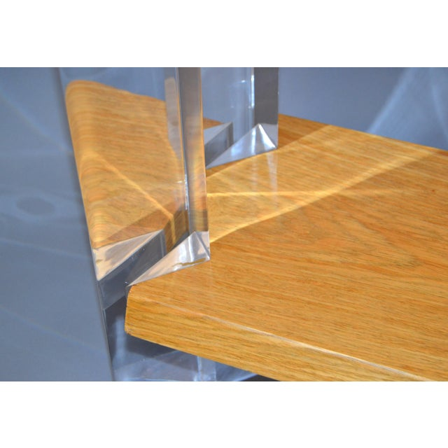 Italian Mid-Century Modern Oak & Acrylic Two Tier Console Table Bookshelf, 1960s For Sale - Image 10 of 13