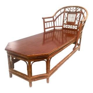 Early 20th Century Vintage Brighton Pavilion Rattan Bamboo Chaise Lounge Chair For Sale