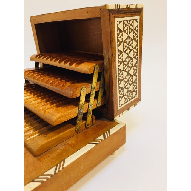 Mid 20th Century Vintage Moorish Spanish Granada Mother of Pearl Inlay Cigarettes Music Box For Sale - Image 5 of 13