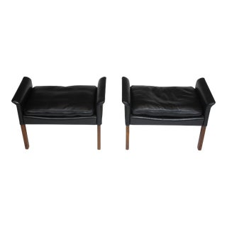 Hans Olsen Rosewood and Black Leather Ottomans - a Pair For Sale