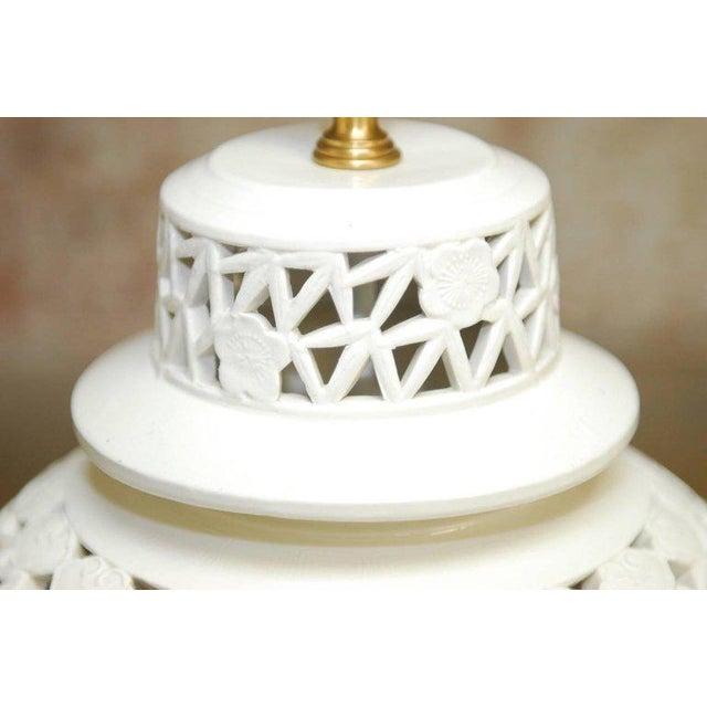 Blanc de Chine Porcelain Ginger Jar Table Lamps - A Pair For Sale - Image 4 of 9
