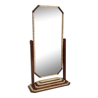 Fine French Art Deco Shagreen and Rosewood Cheval Mirror For Sale