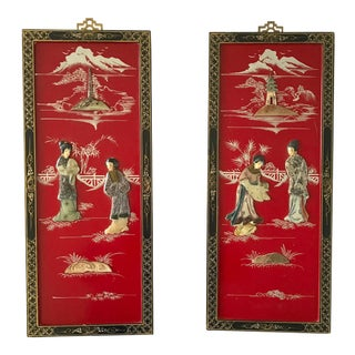 Vintage Red Japanese Panels Pagoda Geishas - a Pair For Sale
