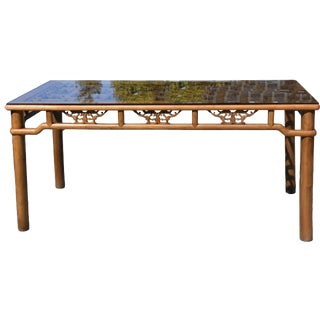 20th Century Asian Dining Table Seats 6 With Antique Screen For Sale