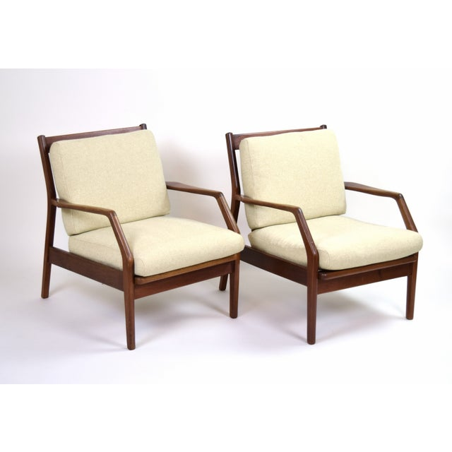 Vintage Ib Kofod Larsen Style Danish Modern Lounge Armchairs - a Pair For Sale - Image 9 of 9