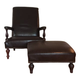 High Back Leather Arm Chair & Ottoman For Sale
