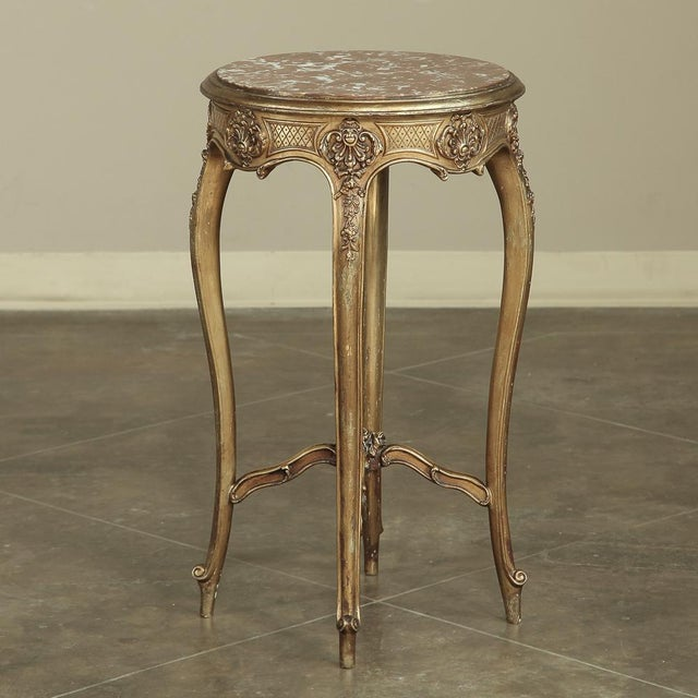 19th Century French Giltwood Marble-Top Lamp Table For Sale In Baton Rouge - Image 6 of 11