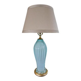 Murano Seguso Italian Baby Blue Glass Ribbed Table Lamp For Sale