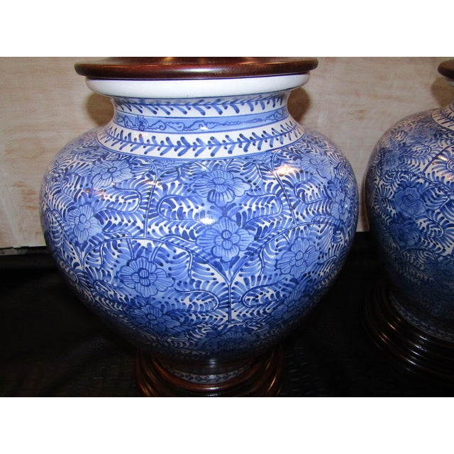 Large Blue And White Ceramic Covered Urns A Pair Chairish