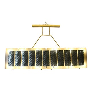 Rectangular Champagne and Grey Murano Glass Chandelier For Sale