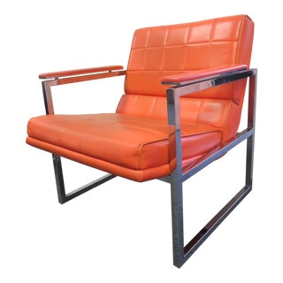 1970s Mid-Century Modern Chromcraft Orange & Metal Flat Bar Arm Chair For Sale