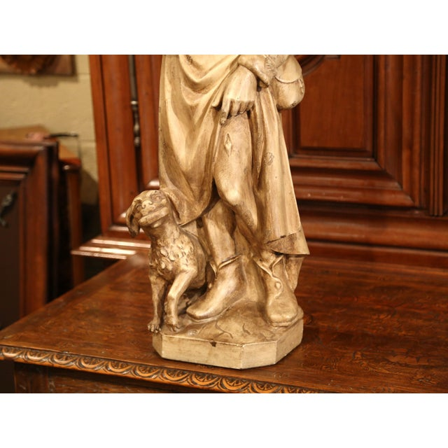 Early 20th Century French Patinated Terracotta Sculpture of Shepherd With Dog For Sale - Image 4 of 8