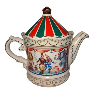 1970s Vintage Sadler Circus Big Top Teapot Staffordshire England For Sale