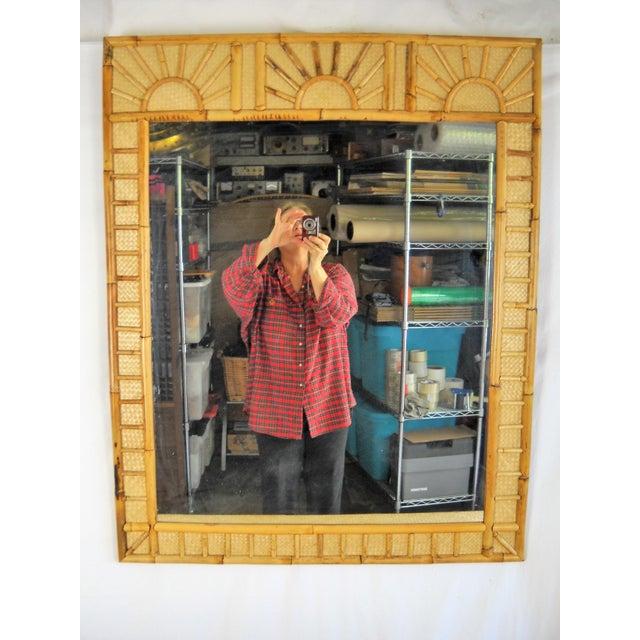 Bamboo Raffia Sunrise Wall Mirror For Sale - Image 4 of 4